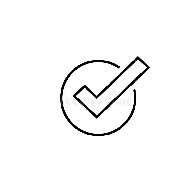 Tick icon vector symbol, line art outline checkmark isolated, checked icon or correct choice sign, check mark or stock illustration