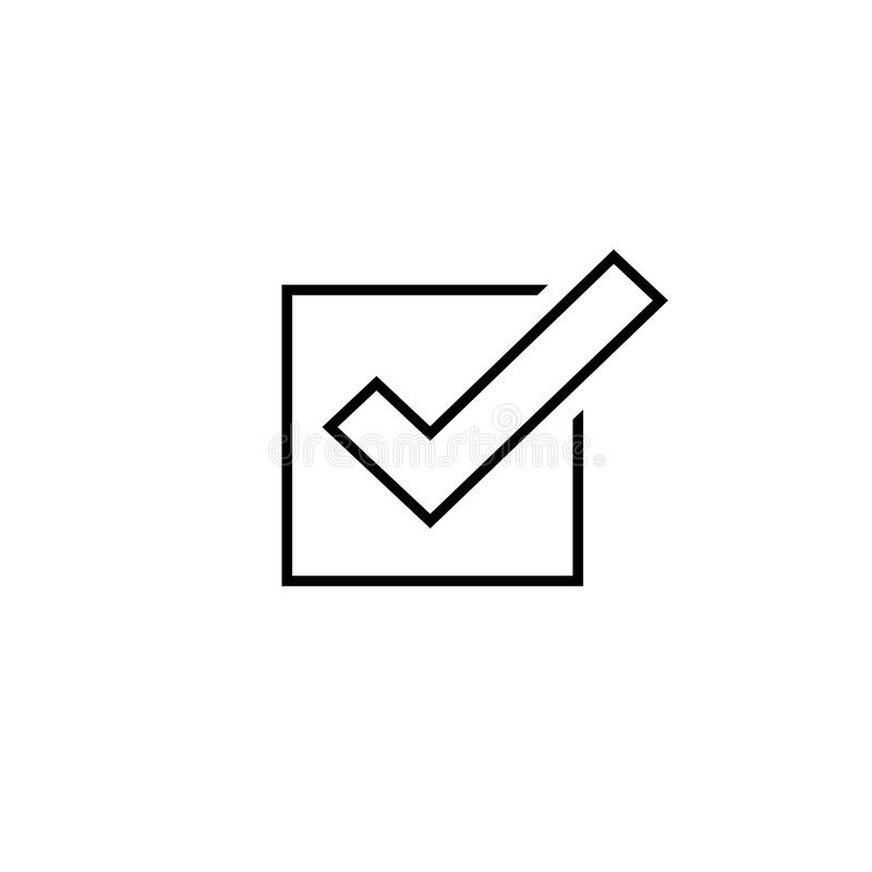 Tick icon vector symbol, line outline checkmark isolated on white background, checked icon or correct choice sign, check stock illustration