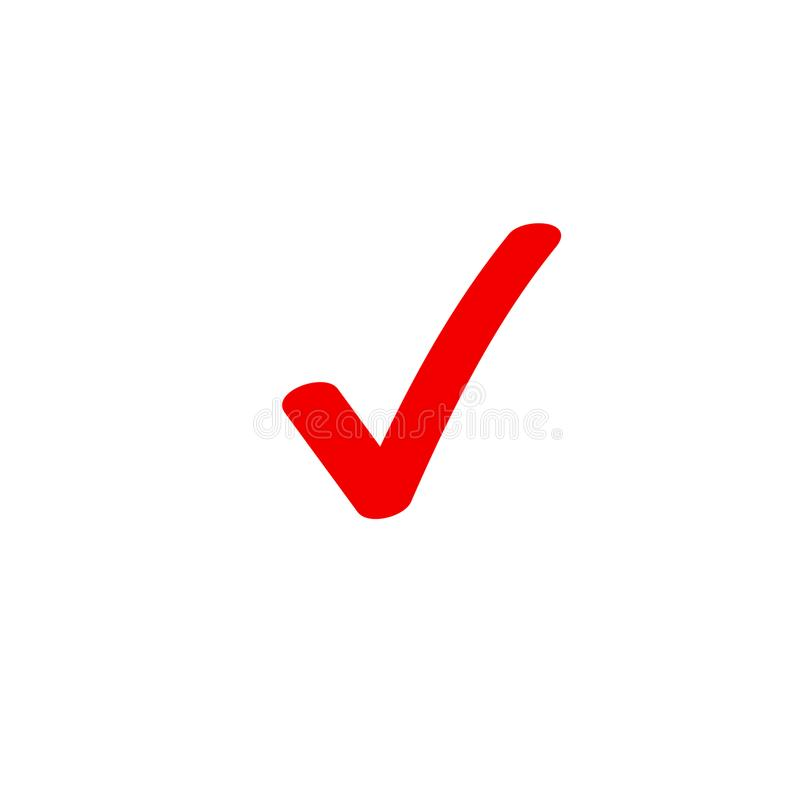 Tick icon vector symbol, marker red checkmark isolated on white, checked icon or correct choice sign doodle or vector illustration