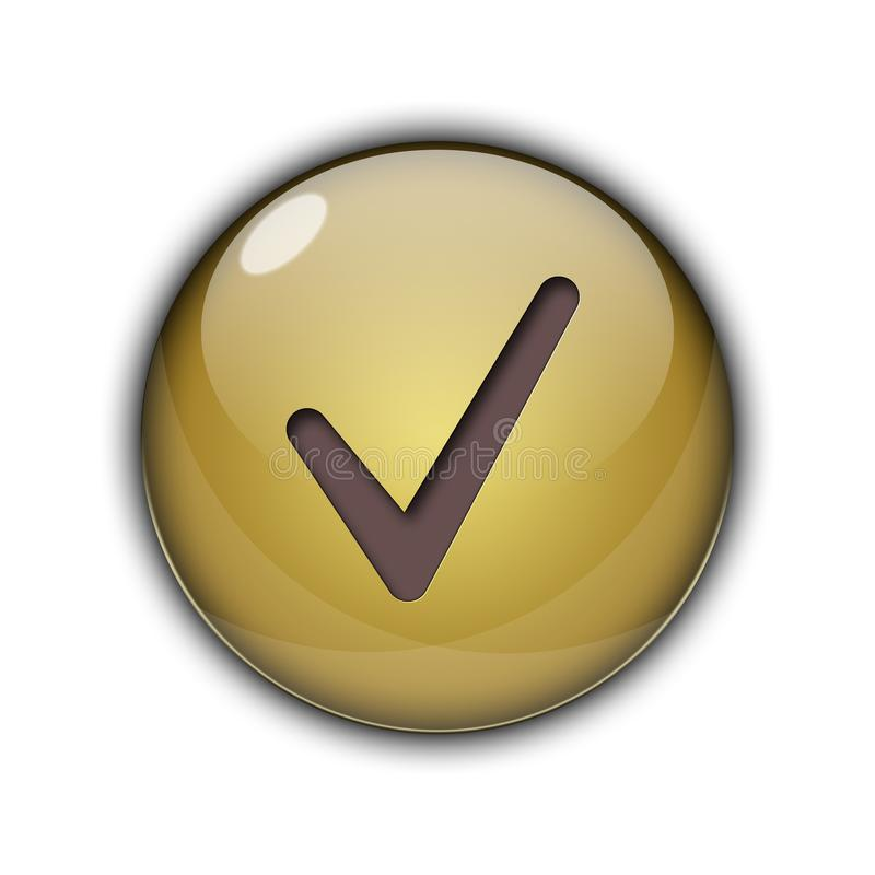 Tick Like Button d'or illustration stock
