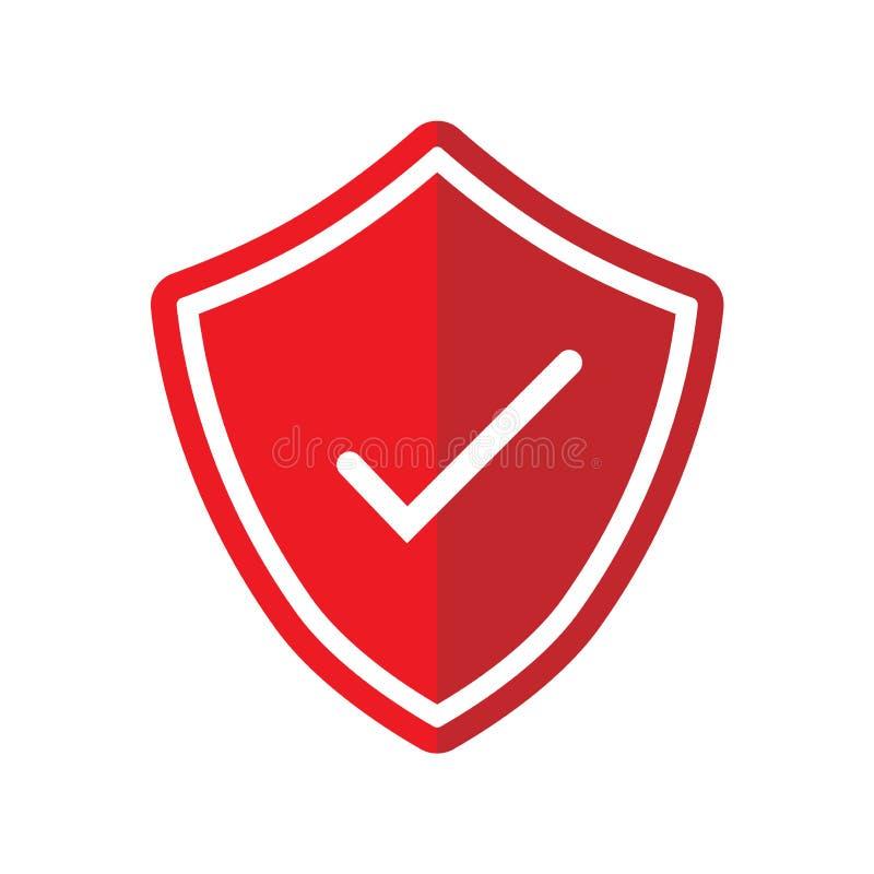 Tick Mark con el ejemplo icónico del escudo-vector ilustración del vector