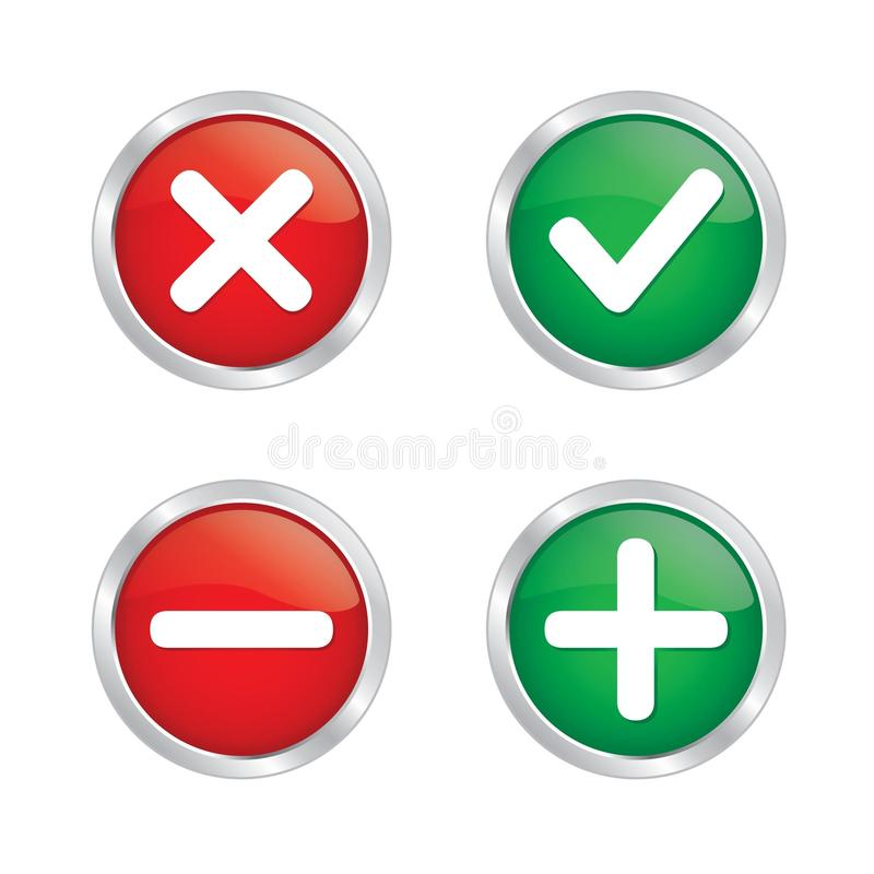 Download Tick mark and cross button stock illustration. Illustration of computer - 33839015