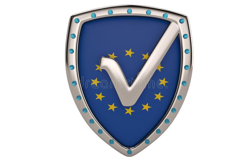 Tick mark on EU accept shield icon.3D illustration. royalty free illustration