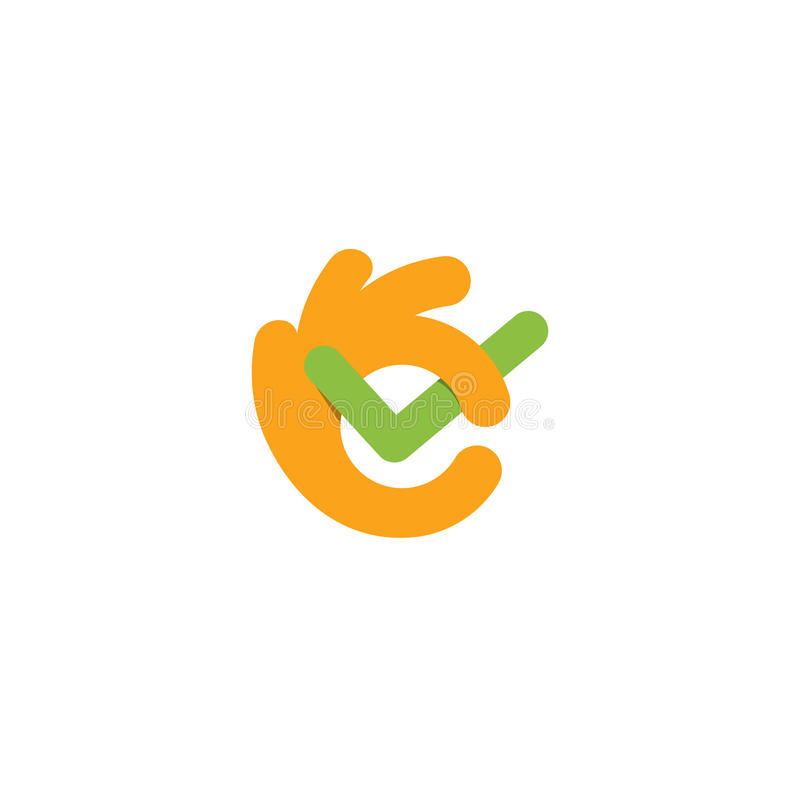 Tick mark. Fingers hands shows All OK. Well done symbol. Great job emblem. Perfect done logo. Vector line art banner. All perfectly. Checked stock illustration