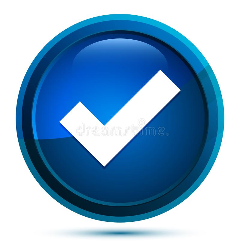 Tick mark icon elegant blue round button illustration stock illustration