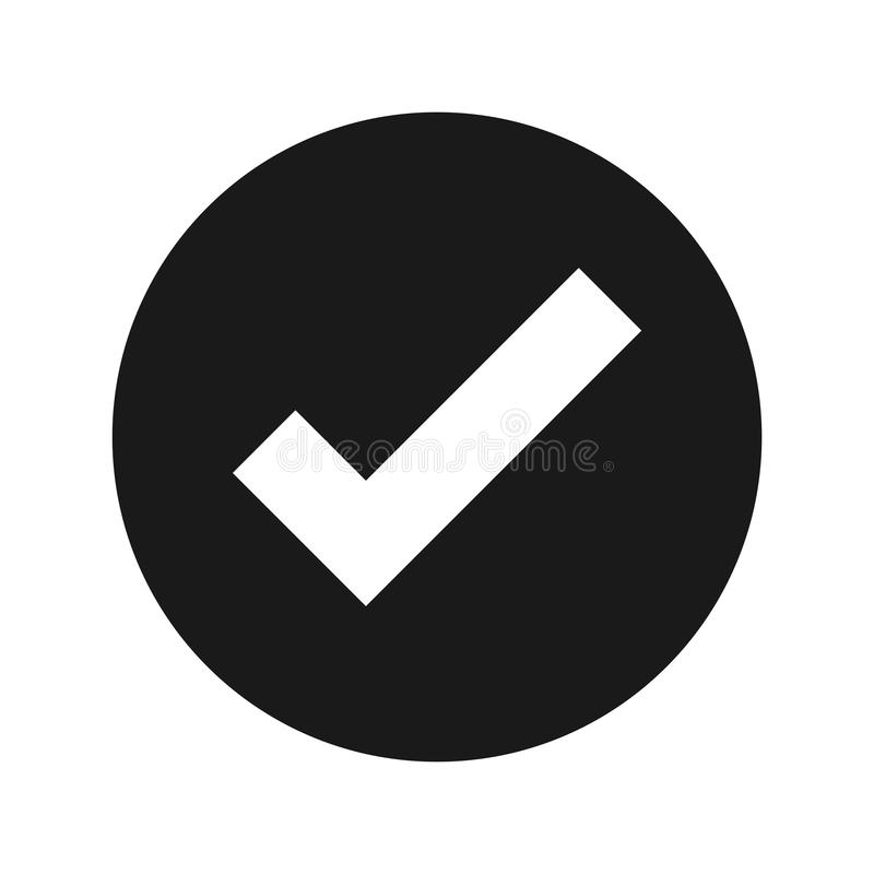 Tick mark icon flat black round button vector illustration. Tick mark icon vector illustration design isolated on flat black round button royalty free illustration