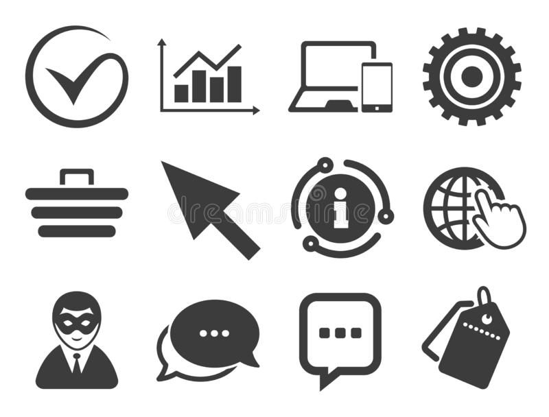 Internet, seo icons. Tick, shopping signs. Vector. Tick, online shopping and chart signs. Discount offer tag, chat, info icon. Internet, seo icons. Anonymous vector illustration