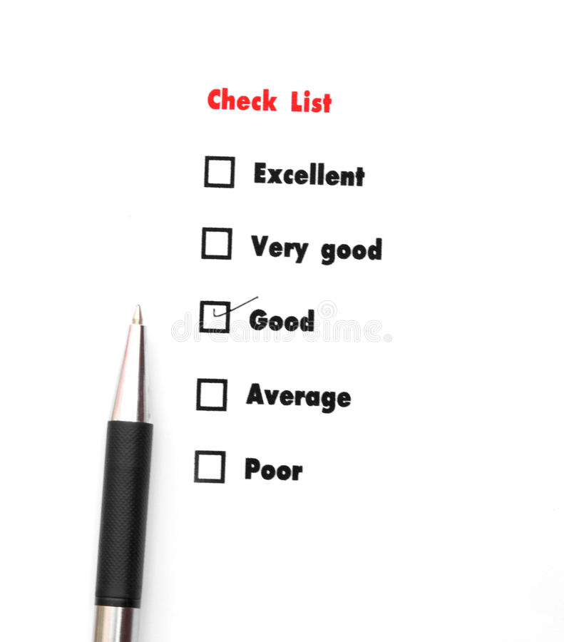 Tick placed you select choice. excellent,very good,good,average. Poor - check good royalty free stock image