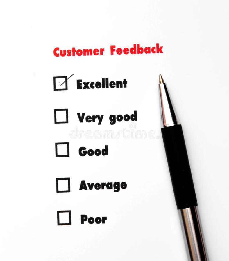 Tick placed you select choice. excellent,very good,good,average. Poor - check excellent royalty free stock images