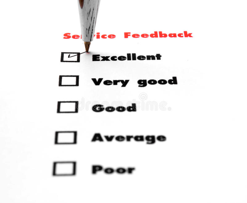 Tick placed you select choice. excellent,very good,good,average. Poor - check excellent royalty free stock photography