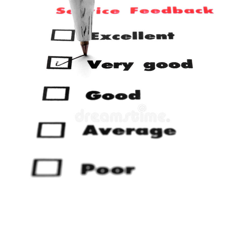 Tick placed you select choice. excellent,very good,good,average. Poor - check very good royalty free stock photography