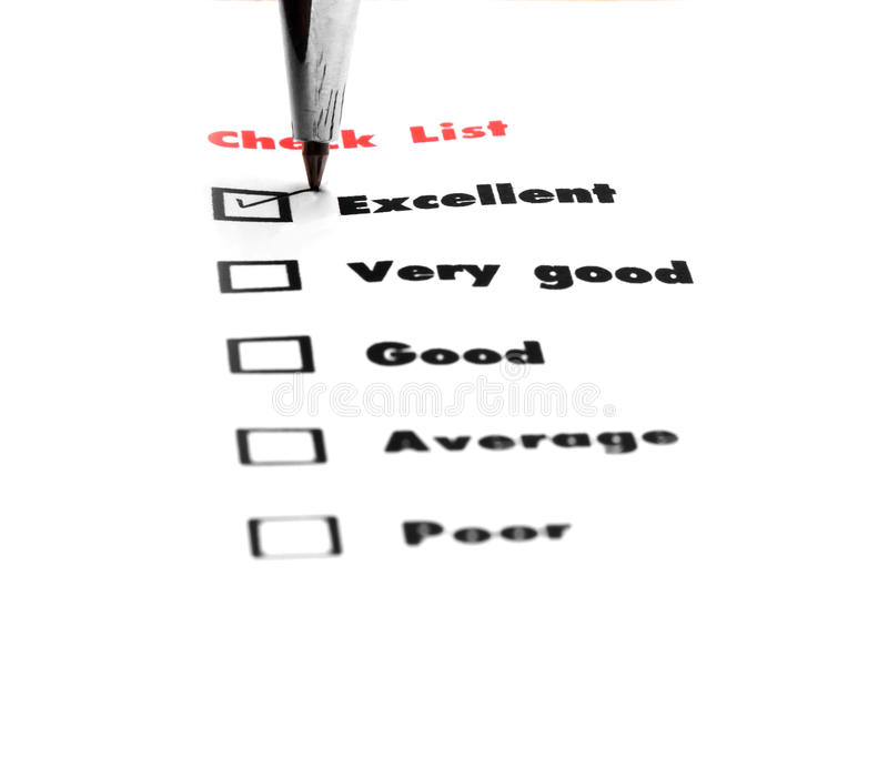 Tick placed you select choice. excellent,very good,good,average. Poor - check excellent stock images