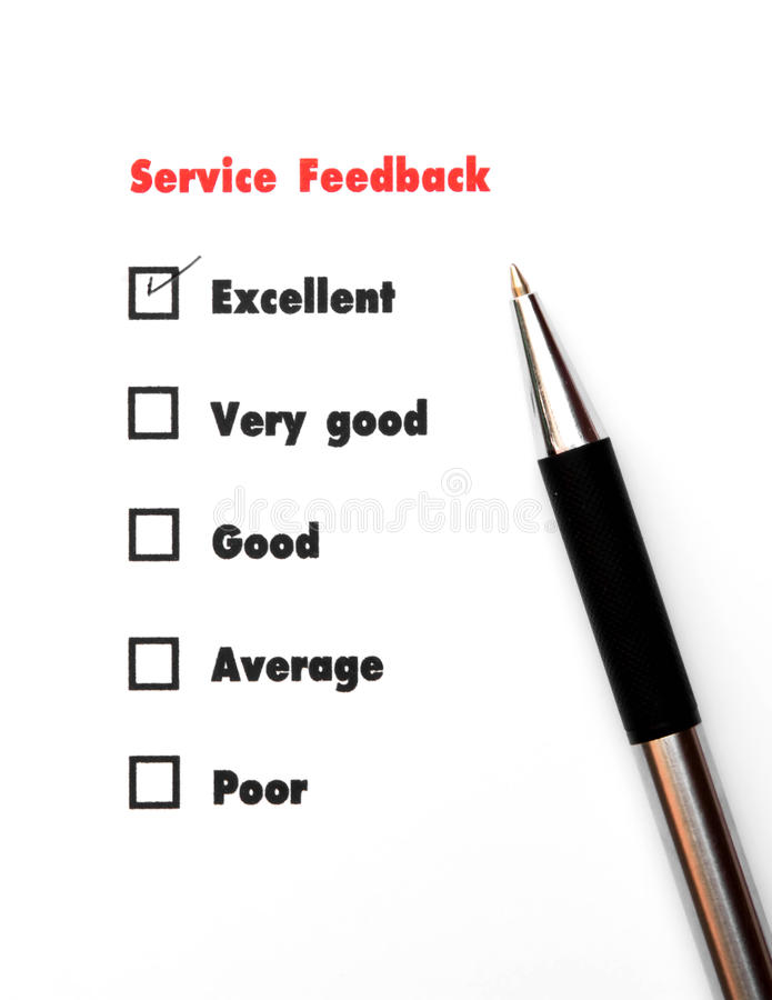 Tick placed you select choice. excellent,very good,good,average. Poor - check excellent royalty free stock photo