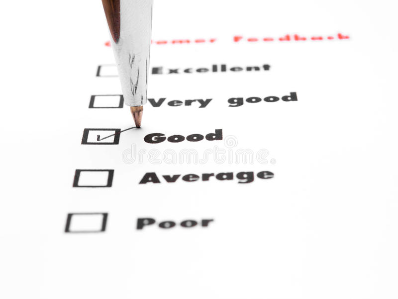 Tick placed you select choice. excellent,very good,good,average. Poor - check good royalty free stock photo