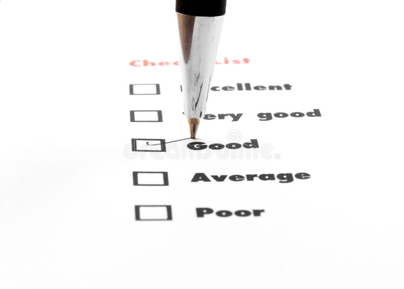 Tick placed you select choice. excellent,very good,good,average. Poor - check good stock photography