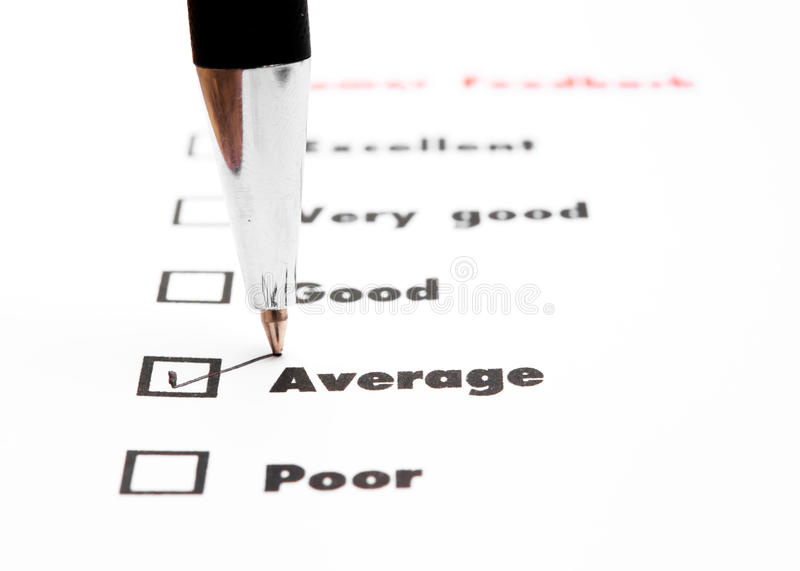 Tick placed you select choice. excellent,very good,good,average. Poor - check average royalty free stock photos