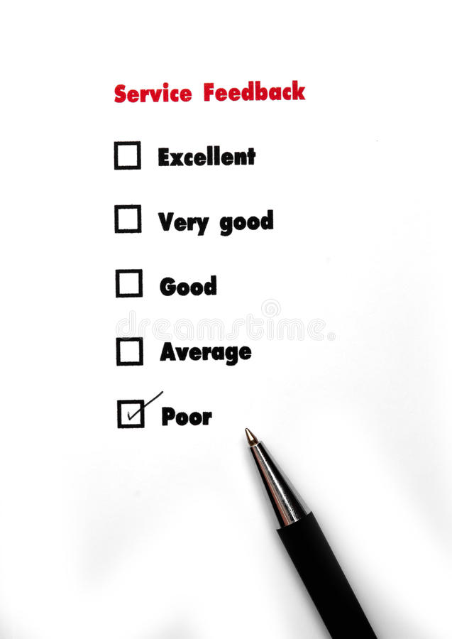 Tick placed you select choice. excellent,very good,good,average. Poor - check poor royalty free stock photography