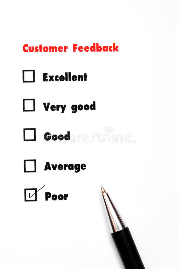 Tick placed you select choice. excellent,very good,good,average. Poor - check poor royalty free stock photo