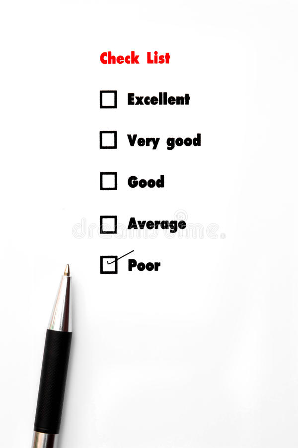 Tick placed you select choice. excellent,very good,good,average. Poor - check poor stock image