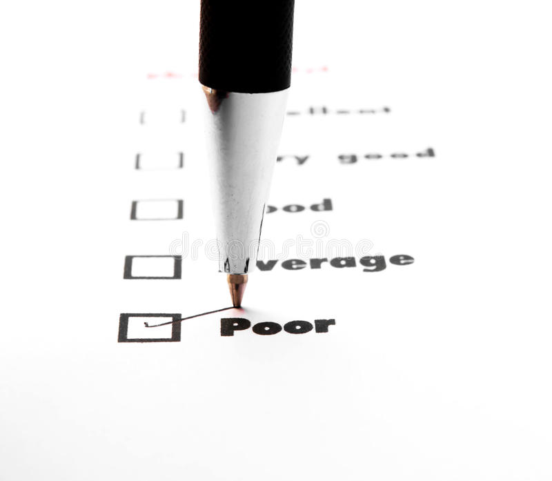 Tick placed you select choice. excellent,very good,good,average. Poor - check poor royalty free stock images