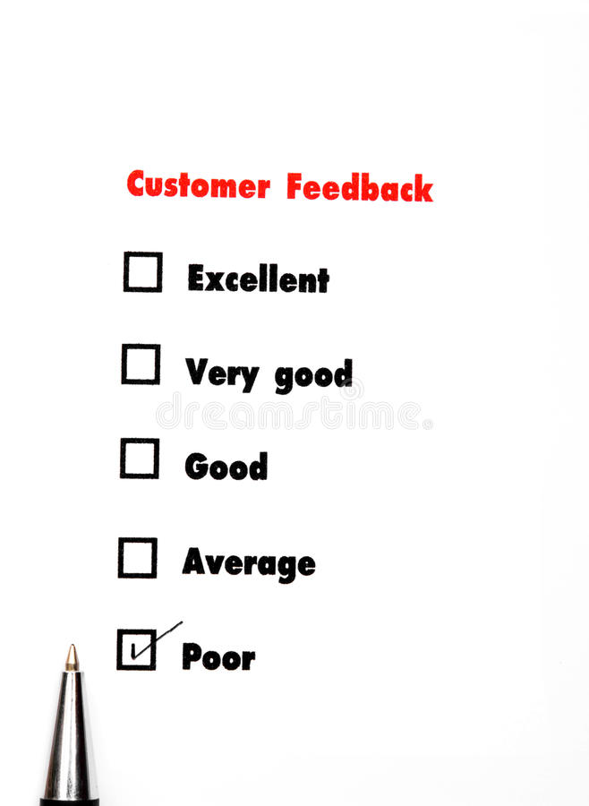 Tick placed you select choice. excellent,very good,good,average. Poor - check poor royalty free stock image