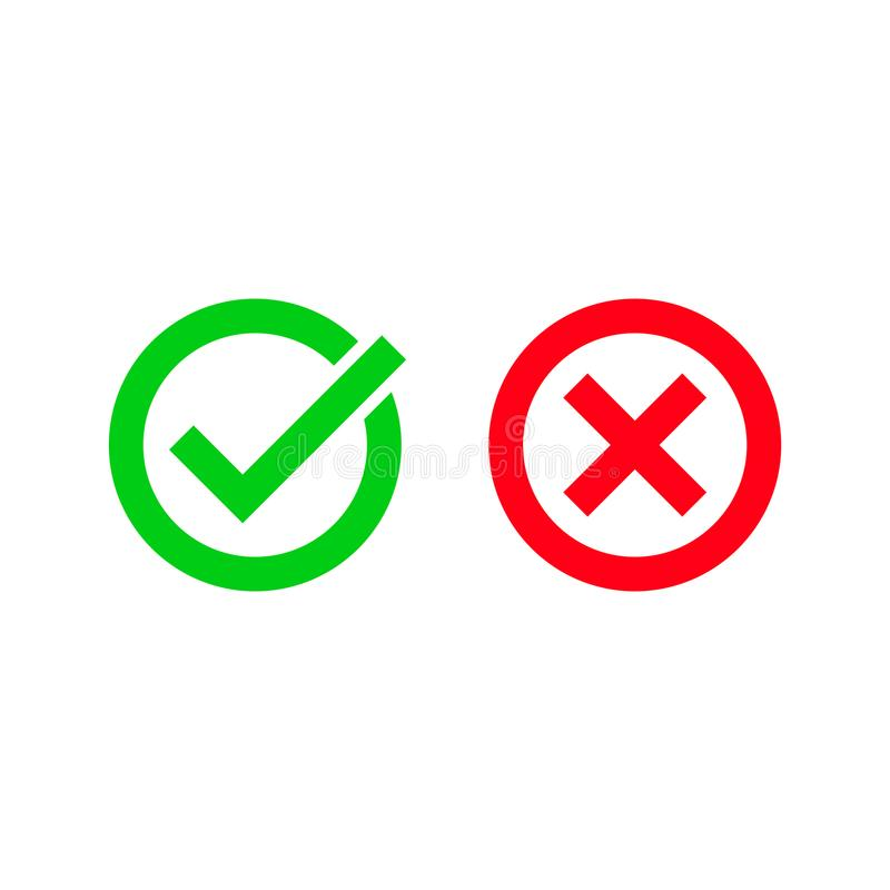 Green tick and red checkmark vector circle icons stock illustration