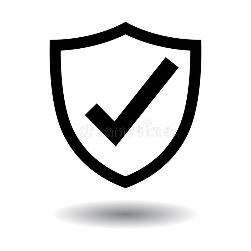 Tick shield security icon black and white. Tick shield security icon on white - vector illustration isolated stock illustration