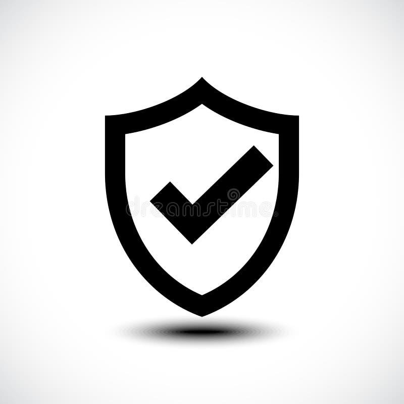 Tick shield security icon illustration stock illustration