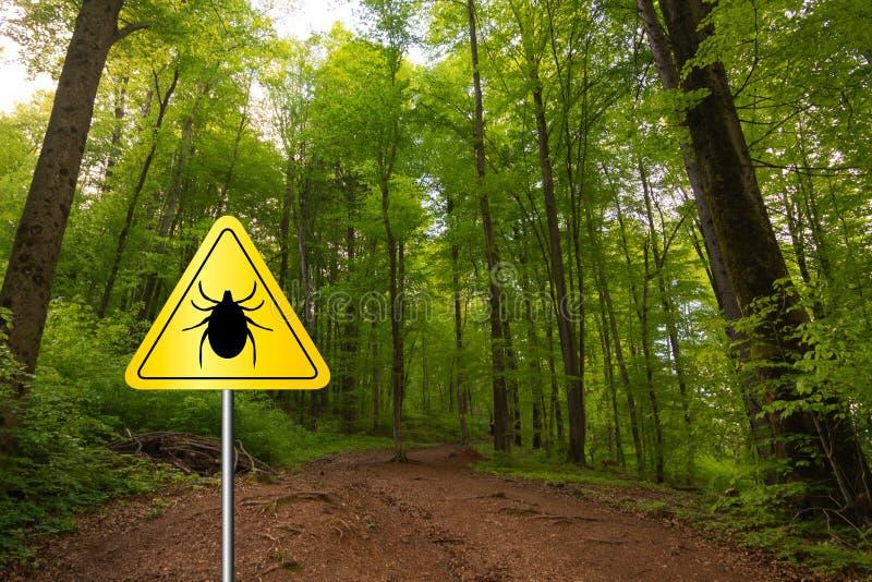 Tick sign in a green forest. Tick insect meningitis warning sign in nature forest. Lyme disease and tick-borne meningoencephalitis transmitter stock image