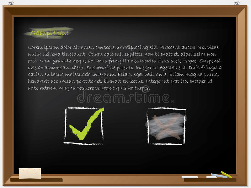 Download Tick And Wiped Cross On Blackboard Stock Vector - Image: 25241751