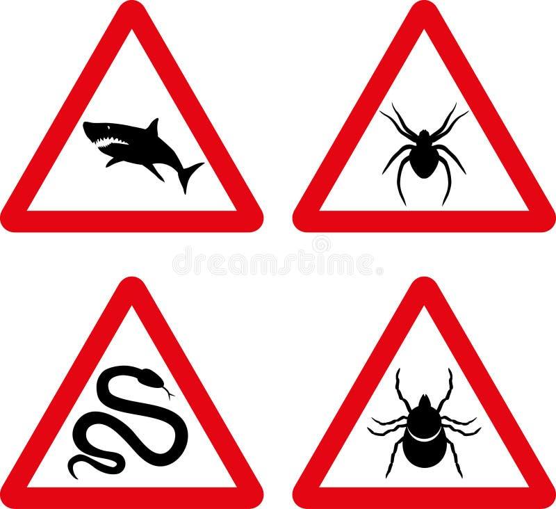 Ticka, slingra, haj- och spindelvarningstecken royaltyfri illustrationer