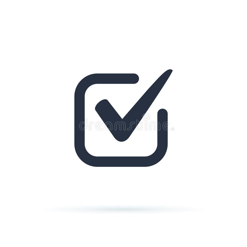 Ticka symbolsvektorsymbolet, checkmarken som isoleras p? vit bakgrund, den kontrollerade symbolen eller det korrekta primaa teckn royaltyfri illustrationer