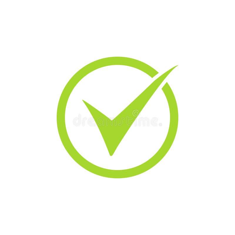 Ticka symbolsvektorsymbolet, den gröna checkmarken som isoleras på vit bakgrund, den kontrollerade symbolen eller det korrekta pr royaltyfri illustrationer