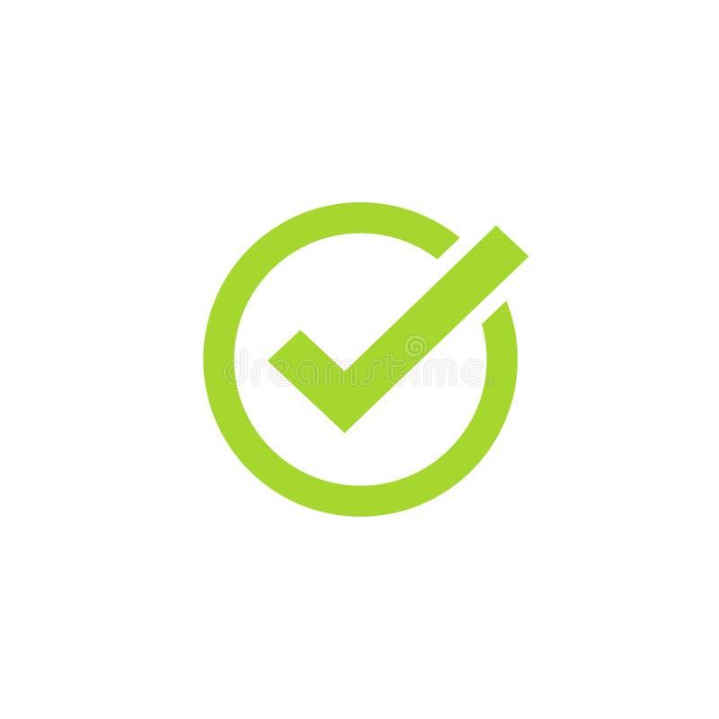 Ticka symbolsvektorsymbolet, den isolerade kontrollerade symbolen för grön checkmark eller det korrekta primaa tecknet royaltyfri illustrationer