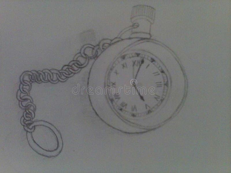 Tickende Uhrzeichnung lizenzfreies stockbild