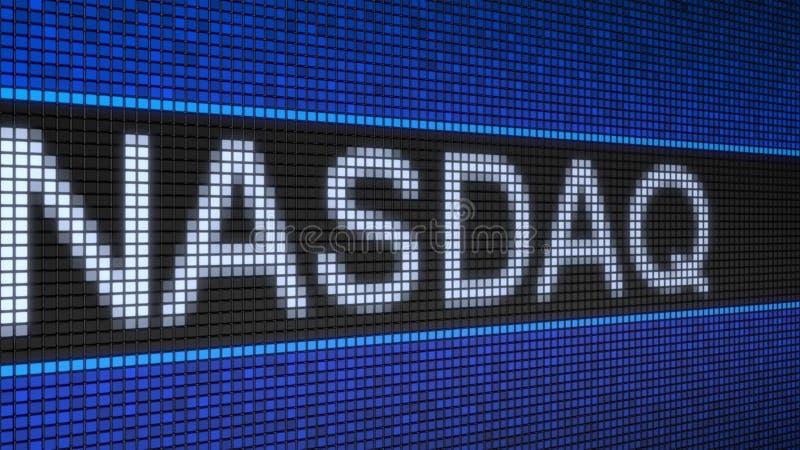 Ticker board with running text NASDAQ conceptual editorial 4K clip. Ticker board with running text NASDAQ conceptual editorial 4K anomation royalty free illustration