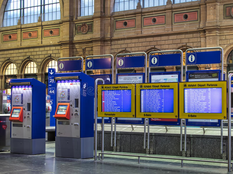Ticket automates in the hall of Zurich main railway station stock photos