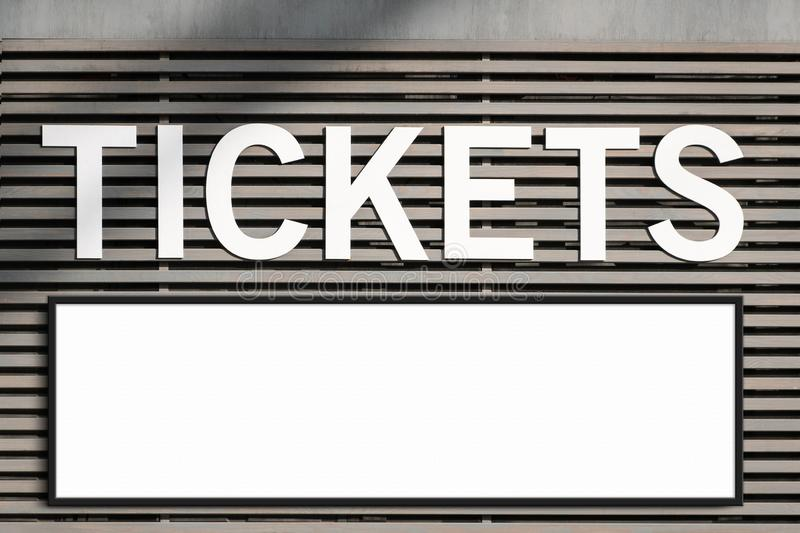 Ticket booth and blank billboard mockup - framed blank sign on ticket hut royalty free stock photos