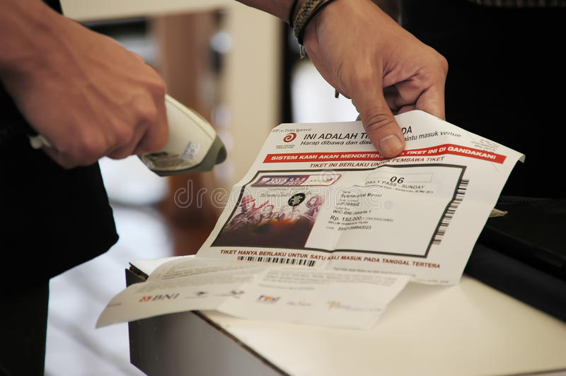 Ticket checking stock image