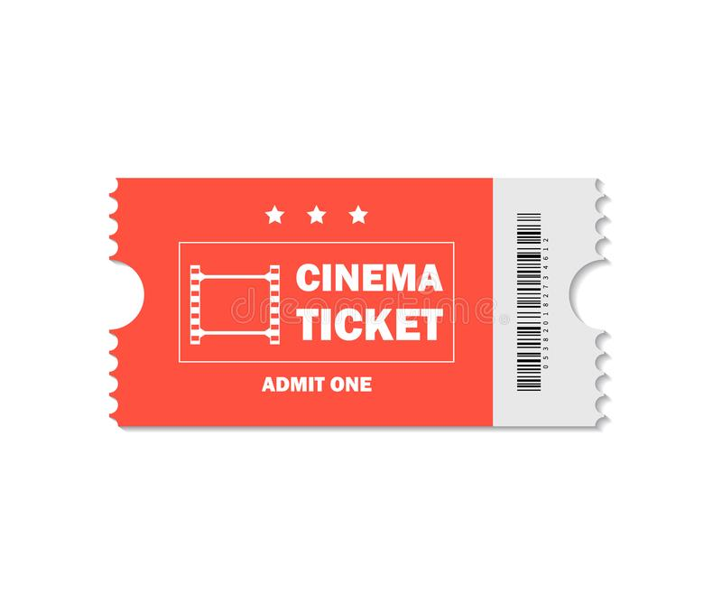 Ticket of cinema for movie. Admission red ticket for theater, movie, cinema on isolated background. Pass ticket on film. vector stock illustration