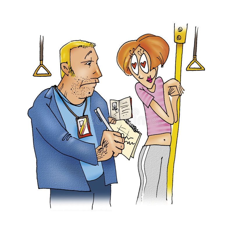 Download Ticket collector and woman stock illustration. Image of comic - 7476228