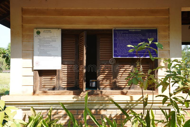 Ticket Control of Banteay Srei in Siem Reap, Cambodia. Siem Reap,Cambodia-January 9, 2019: Ticket Control of Banteay Srei in Siem Reap, Cambodia royalty free stock images