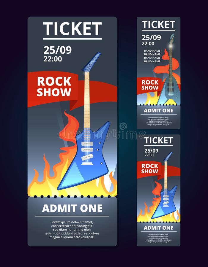 Ticket design template of music event. vector illustration