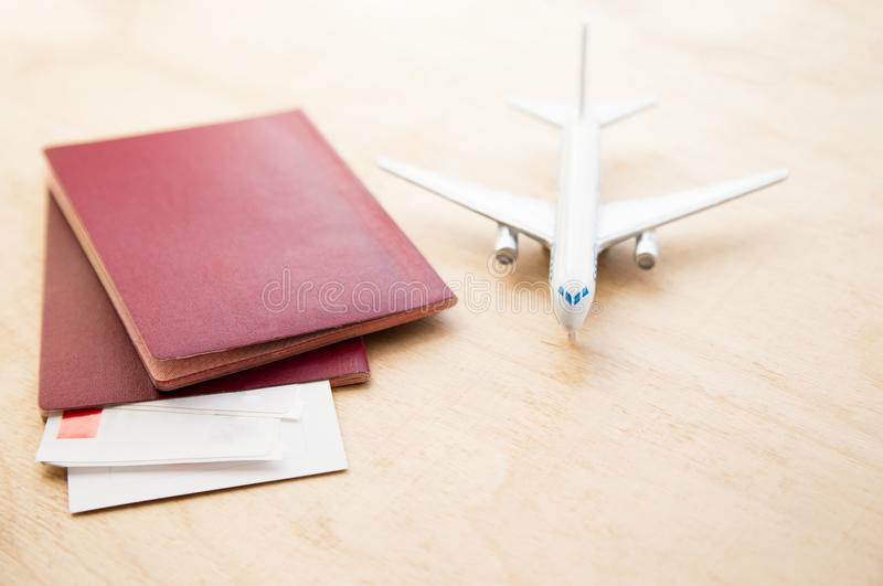 Ticket flight air plane travel business traveller trip passport. Traveler airplane passenger journey air ticket booking aircraft boarding concept. close-up stock photography