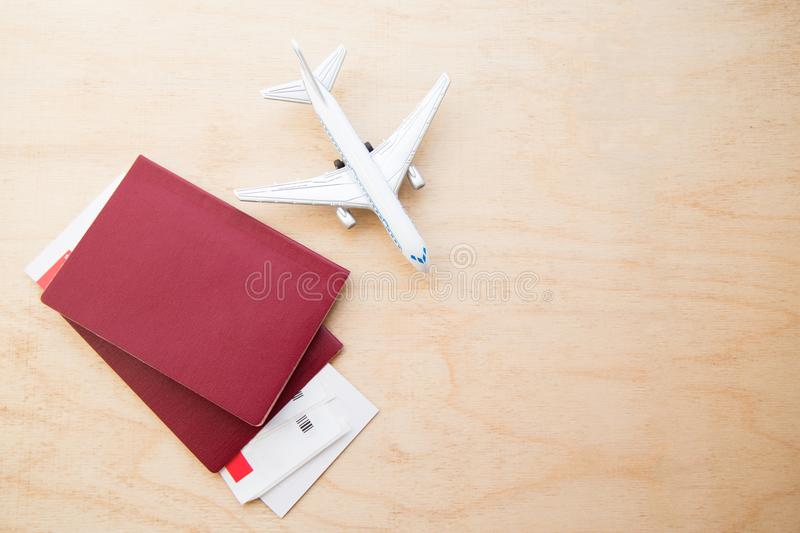 Ticket flight air plane travel business traveller trip passport. Traveler airplane passenger journey air ticket booking aircraft boarding concept. close-up stock image