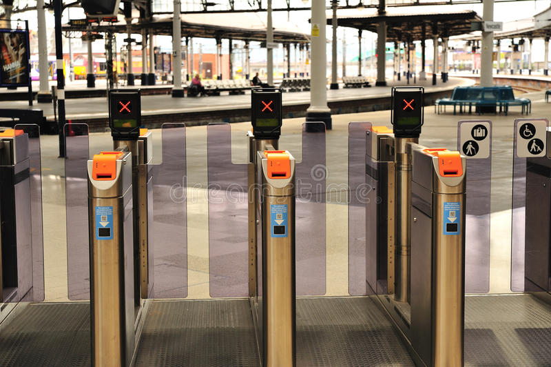 Ticket Gate. Closed ticket gate at Newcastle Railway Station royalty free stock photo
