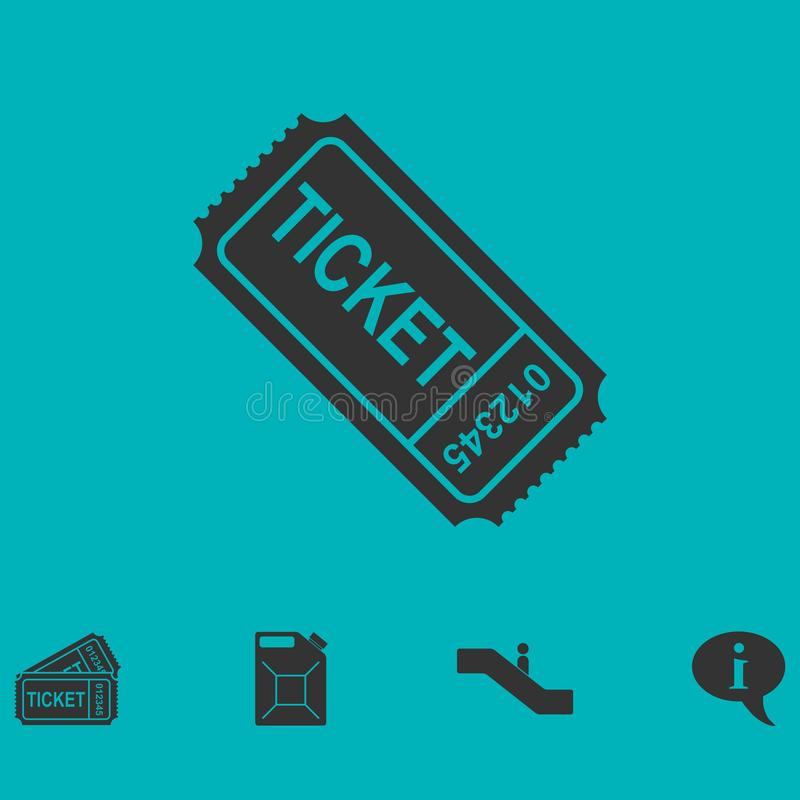 Ticket icon flat. Simple vector symbol and bonus icon royalty free illustration