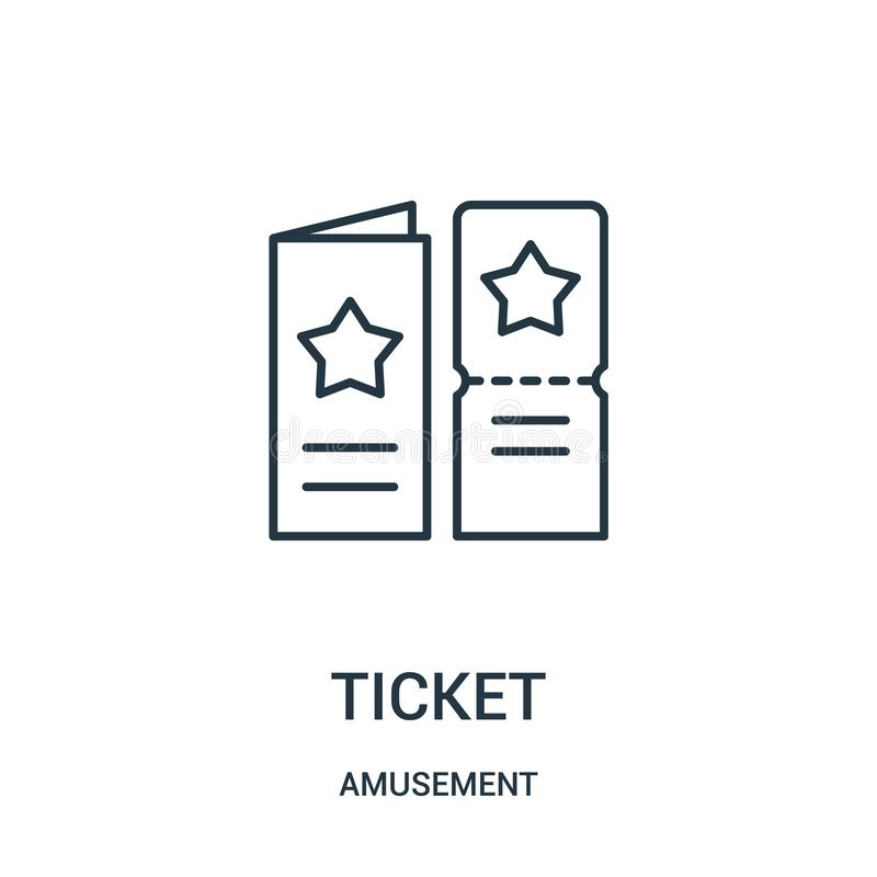ticket icon vector from amusement collection. Thin line ticket outline icon vector illustration stock illustration