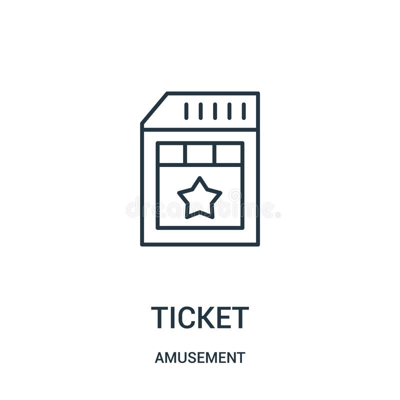 ticket icon vector from amusement collection. Thin line ticket outline icon vector illustration royalty free illustration
