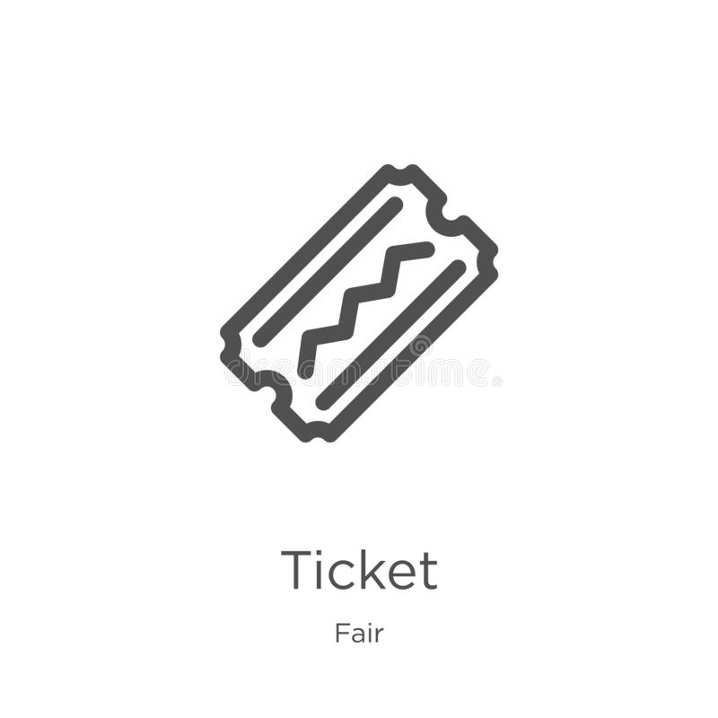 ticket icon vector from fair collection. Thin line ticket outline icon vector illustration. Outline, thin line ticket icon for stock illustration